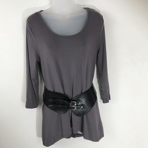 Kenar Jersey Tunic with Leather Belt